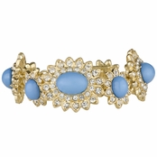 Pia's Fancy Blue Oval and Goldtone Rhinestone Bracelet