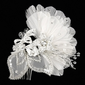 Pia's Rhinestone & Feather Fancy Hair Comb