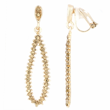 Pilar's Fancy Champagne Rhinestone Pear Drop Clip On Earrings