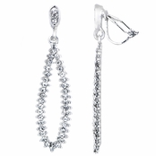 Pilar's Fancy Silver Tone Rhinestone Pear Drop Clip On Earrings
