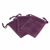 Plum Velour Large Gift Pouch Set of 3 - 4 Inches