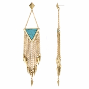 Pola's Imitation Turquoise Bohemian Fringe Drop Earrings