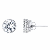 Portia's 6mm Silver Tone Crown Setting CZ Stud Earrings