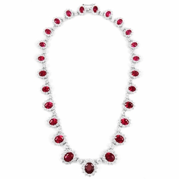 Pretty Woman Comparable Fancy CZ Ruby Necklace - Sterling Silver