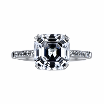 Prisilla's 4 CT Asscher Cut CZ Engagement Ring