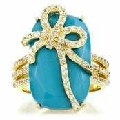 Rachelle's Bow Cocktail Ring - Light Blue CZ