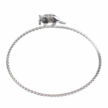 Rae's Silvertone Stackable Charm Bangle Bracelet - Armadillo