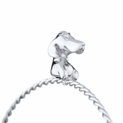 Rae's Silver Tone Stackable Charm Bangle Bracelet - Dog