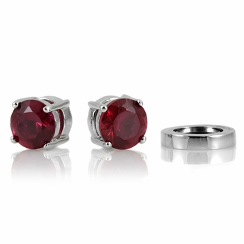 Raina's Non Pierced Magnetic Earrings - CZ Studs - Ruby Red