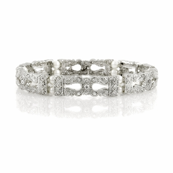 Raquel's Simulated Pearl Stretch Vintage Bridal Bracelet