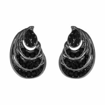 Raven's Rhinestone Tear Drop Stud Earring - Black