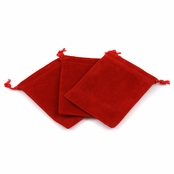 Red Velour Large Gift Pouch Set of 3 - 4 Inches