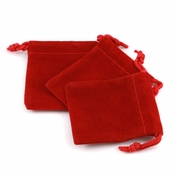 Red Velour Small Gift Pouch Set of 3 - 2 Inches