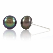 Regina's 7mm Freshwater Cultured Pearl Stud Earrings - Black