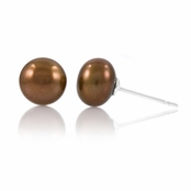 Regina's 7mm Freshwater Cultured Pearl Stud Earrings - Chocolate