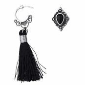 Reyah's Black Tassel Antique Earrings