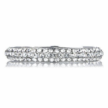 Danita's Fancy Silvertone Rhinestone Bangle Bracelet