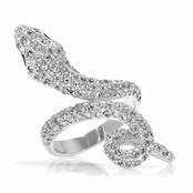 Ri's Silvertone and CZ Snake Ring