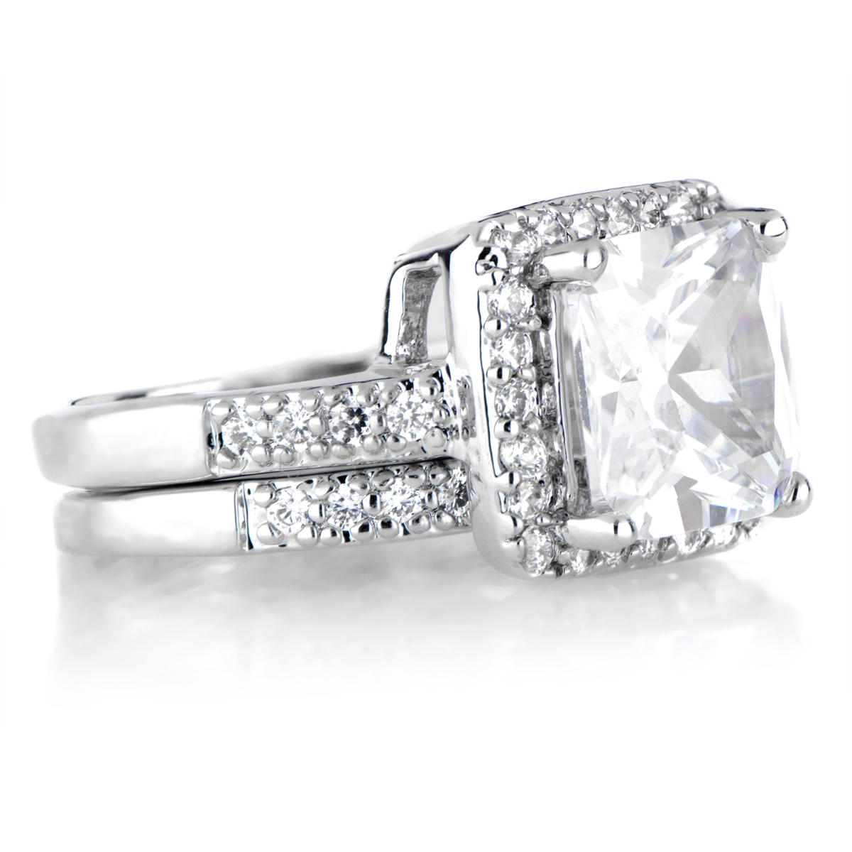 rian s cubic zirconia halo princess cut wedding ring set