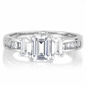 Ridley's Emerald Step Cut 3 Stone Engagement Ring