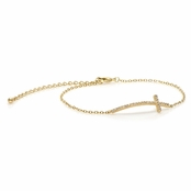 Rianna's Goldtone Pave Sideways Cross Bracelet