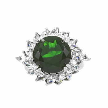 Rika's 7 Ct Green CZ Round Cut Cocktail Ring