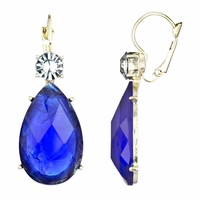 Rina's Fancy Pear Drop Earrings - Sapphire Blue