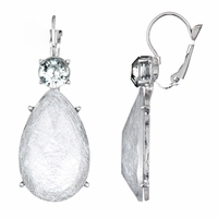 Rina's Fancy Pear Drop Earrings - Silver