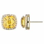 Rocio's Cushion Cut Canary CZ Earrings
