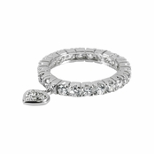 Romanza's CZ Eternity Band Ring Heart Charm