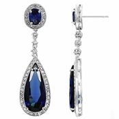 Rori's Pear Drop CZ Dangle Earrings  - Blue CZ