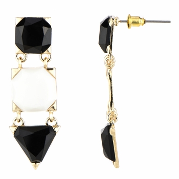 Rosa's Black and White Triple Drop Earrings