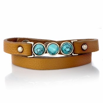 Rosa's Blue Stone Brown Leather Wrap Bracelet