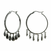 Rosalie's Oxidized Silver Pear Drop Hoop Earrings- Black CZ