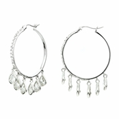 Rosalie's Silvertone CZ Pear Drop Hoop Earrings