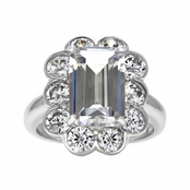 Rosina's CZ Flower Inspired Vintage Ring - Emerald Cut