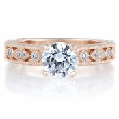 Maya's Round Cut Antique Style Rose Gold Engagement Ring