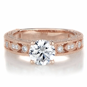 Maya's Round Cut Antique Style Rose Gold Tone Engagement Ring