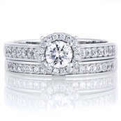 Mira's .85 ct Round Cut CZ Halo Wedding Ring Set