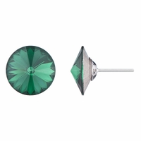 Round Cut Simulated Emerald Stud Earrings