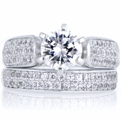Kali's .85 ct Round Cut CZ Wedding Ring Set