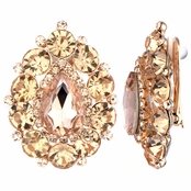 Roxie's Fancy Champagne Cluster Pear Cut Clip On Earrings