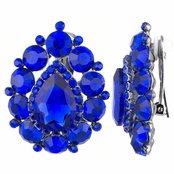 Roxie's Fancy Blue Cluster Pear Cut Clip On Earrings