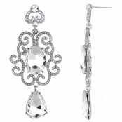 Royce's Silver Fancy Bollywood Rhinestone Earrings