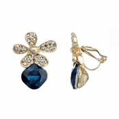 Rubee's Blue Rhinestone Flower Clip On Earrings
