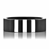 Ryan's Black Stainless Steel Ring with Genuine Shell Inlay