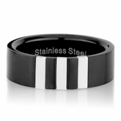 Ryan's Black Stainless Steel Ring with Simulated Shell Inlay