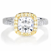 Sabrina's Canary Halo Cushion Cut CZ Engagement Ring