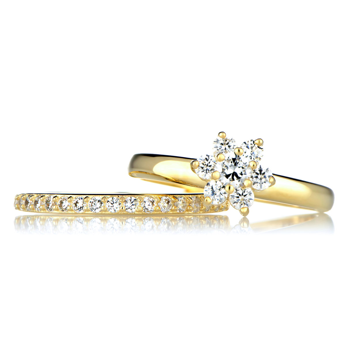 Set Wedding Rings Gold CZ Flower Wedding Ring Set