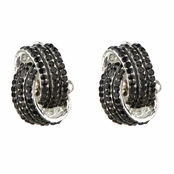 Sally's Fancy Black Rhinestone Love Knot Clip On Earrings